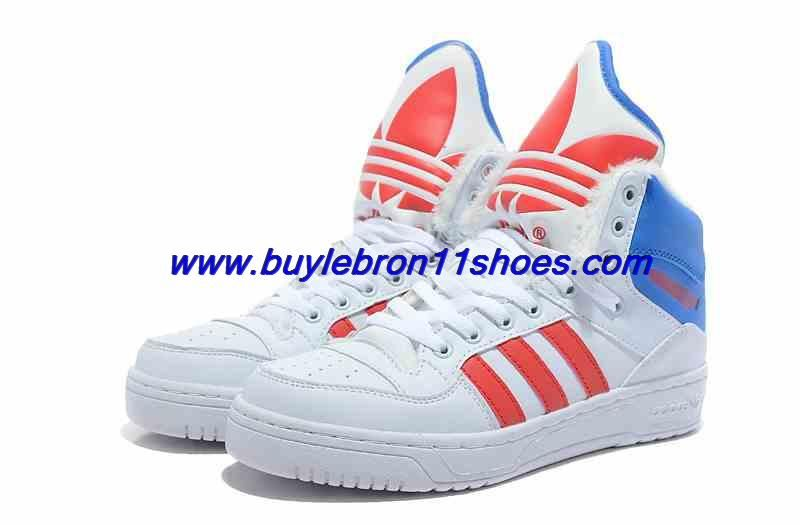 Cheap Adidas X Jeremy Scott Winter Big Tongue Shoes White Red Blue For Wholesale