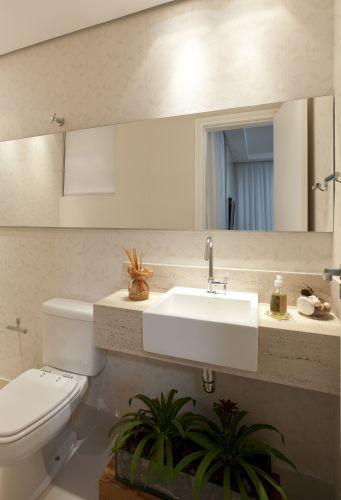 Pia de semiencaixe para banheiro pequeno  Banheiros  Pinterest  Banheiro  -> Cuba Banheiro Travertino