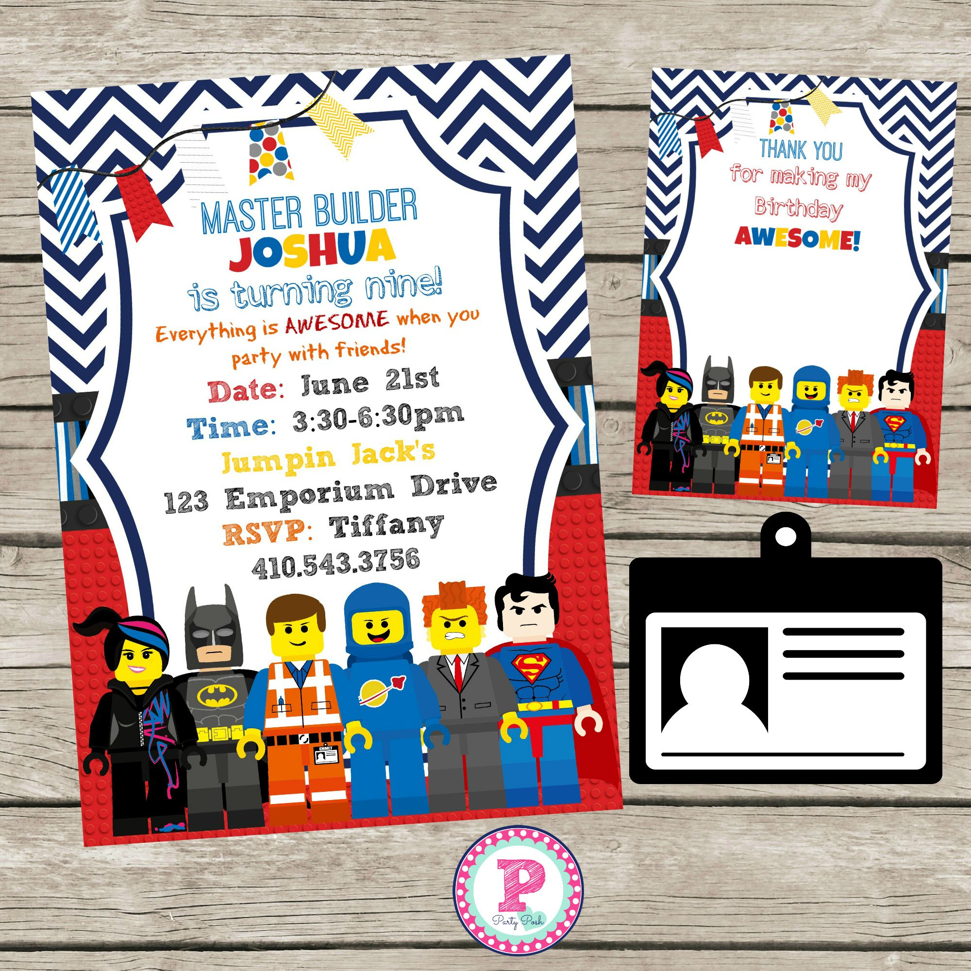 Navy Chevron Lego Movie Birthday Party Invitation