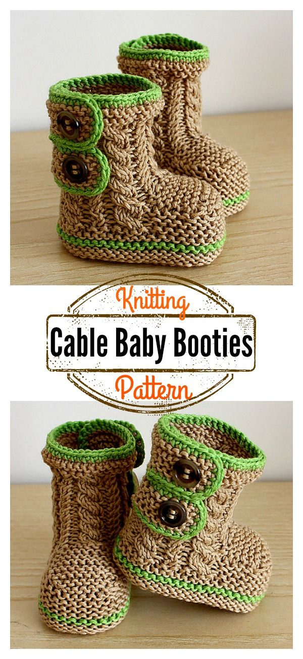 Cable Baby Booties Knitting Pattern   booties   Pinterest   Baby ...