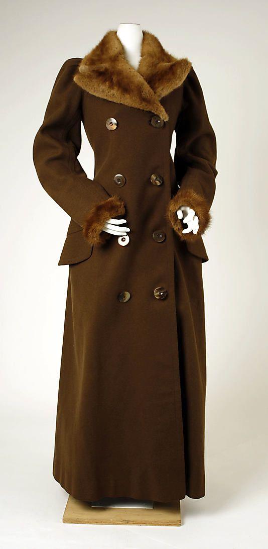 Brown wool overcoat with fur trim (front), British, ca. 1891.