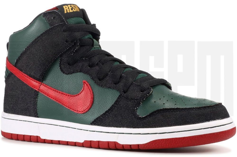 4cee2651405e eBay  Sponsored 2009 Nike DUNK HIGH PREMIUM SB RESN 10 11 GREEN RED DENIM  diamond supreme cdg
