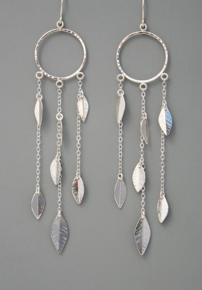 Sterling Silver Leaf Chandelier Earrings | Rachel Wilder on Etsy ...