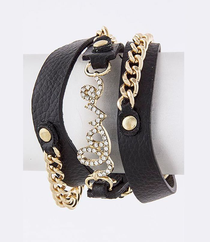 "This adorable, multi-strap bracelet is designed with the word, ""love,"" crystal-studded linking the straps together, and chain link tassels on each side. The cute bracelet is approximately 22"" long with a snap closure so it's easy to put on and take off. You definitely need to add this to your bracelet collection! $13.99"