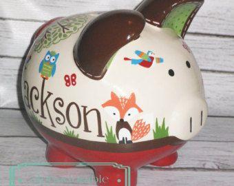 large woodland animals artisan painted ceramic personalized