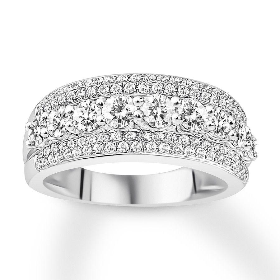 Diamond Anniversary Ring 1 1 2 Carats Tw 14k White Gold 121015301 Jared Diamond Anniversary Rings Diamond Anniversary Diamond Anniversary Bands