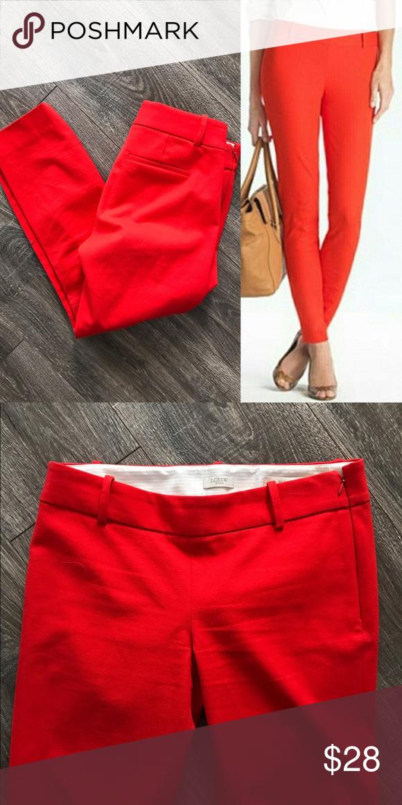 "J. Crew retail Minnie pants size 0, like new J. Crew retail Minnie pants size 0, like new. True red color. Side zipper, slim leg, 95% cotton, 5% spandex. Waist 29"", rise 8"", inseam 24"". J. Crew Pants"