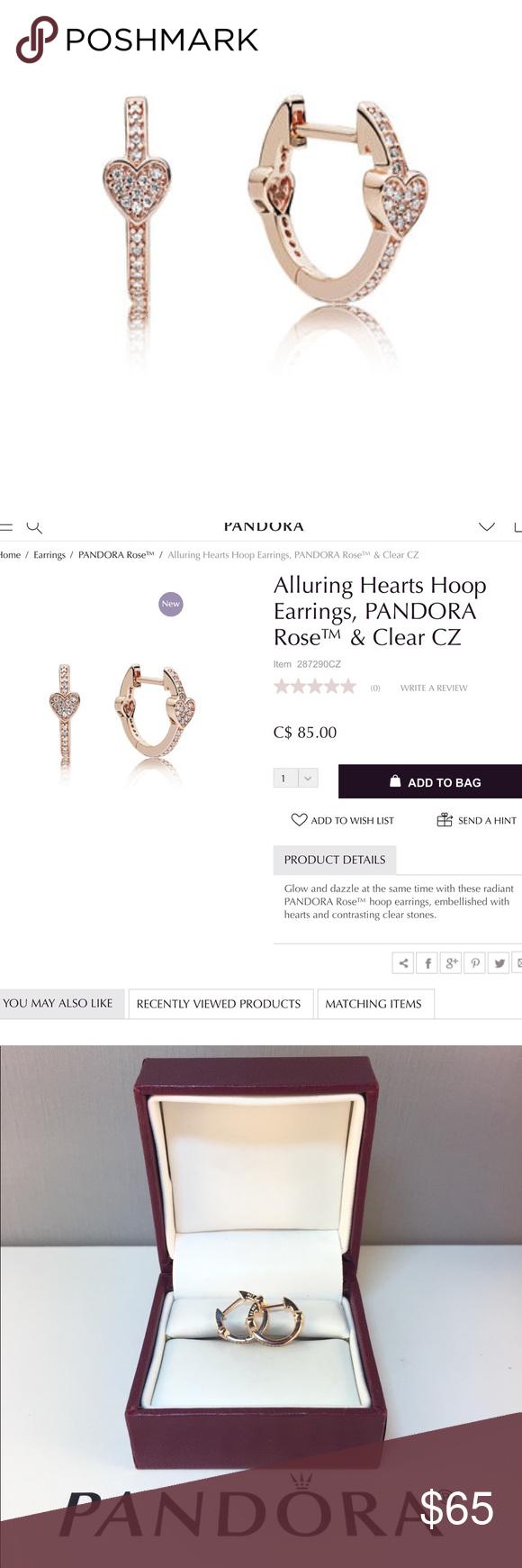56b533b9f New Pandora Rose Alluring Hearts Earrings 100% Authentic Pandora Pandora  Charms. Pandora New Charms. Pandora Retired Charms. Pandora Bracelets.