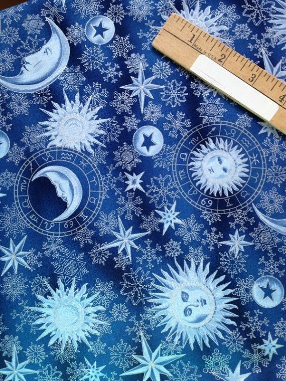 Celestial quilting fabric soft blue sun moon stars for Sun moon fabric