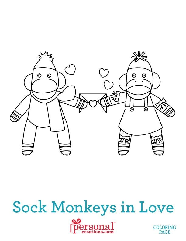 Sock Monkeys In Love Kids Coloring Pages Sock Monkey Birthday