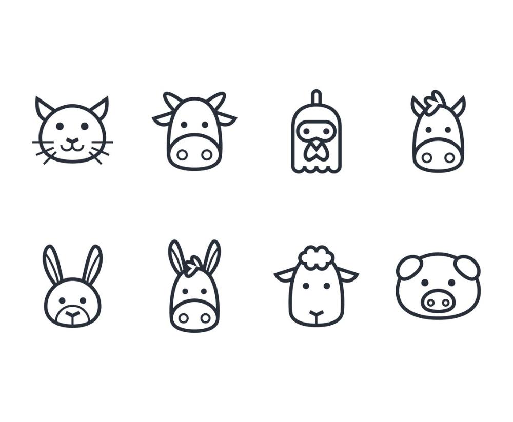 Set Of Outline Stroke Farm Animal Icons Animal Icon Animal Icon Design Minimalist Icons