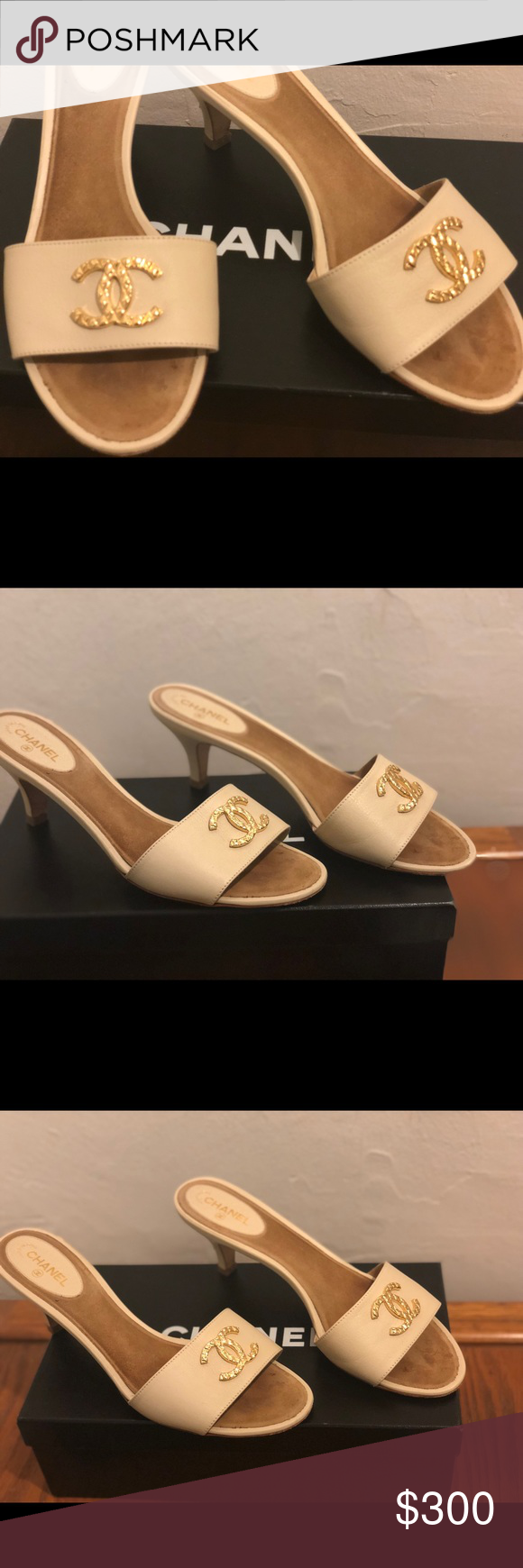 96cc3be97d39b1 Chanel sandals Chanel mules with kitten heel. Gold metal CC across the  front. Worn