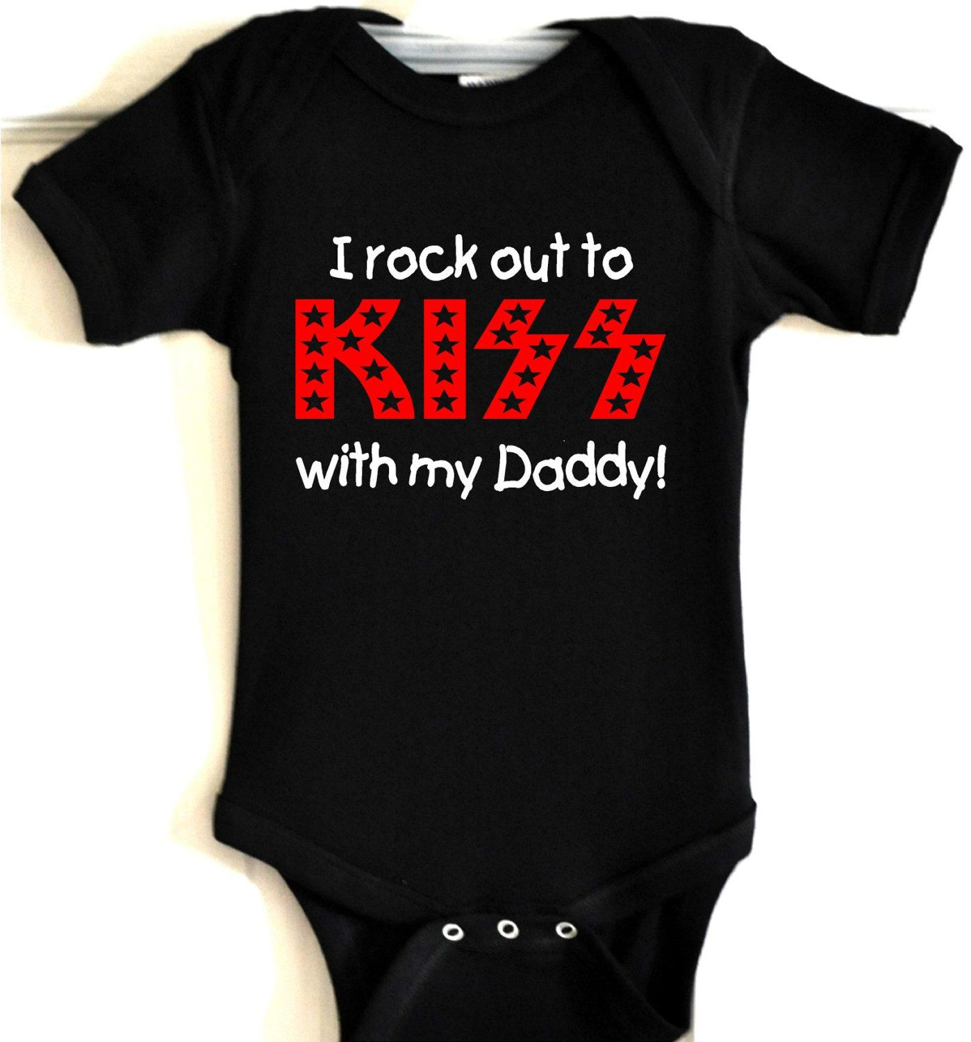 wRb i rock out to kiss with daddy mommy baby onesie t shirt bodysuit