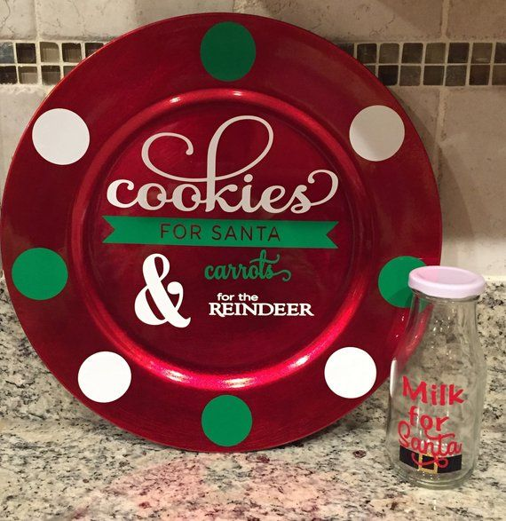 Christmas Cookie Plate Family Gift Shatterproof Milk and Cookies for Santa Set Milk and Cookies Carrots For Reindeer Christmas Decor
