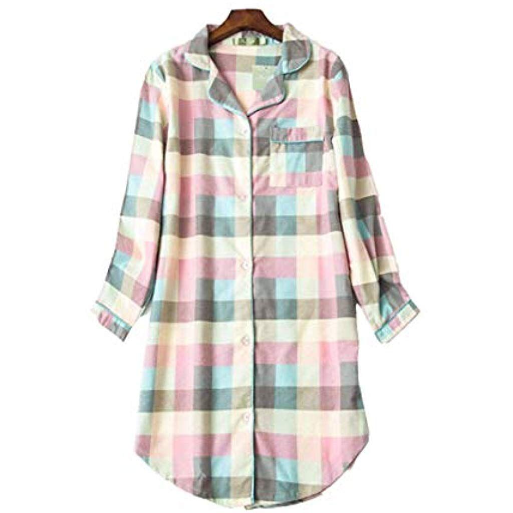 5420b23c677 DSJJ Chemise de Nuit Femme Coton boutonné Devant Grande Taille Pyjama Femmes  Cotton m-XXL  chemises  chemesisaktie  chemiseshast  chemisesdeutsch ...
