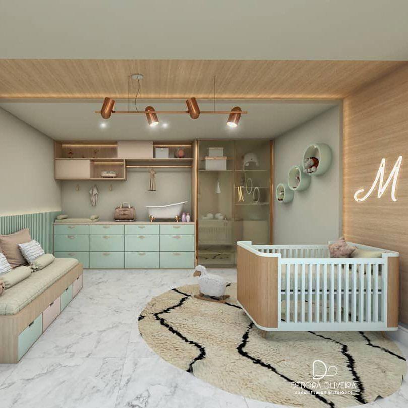 O verde menta combinado com a Madeira e a sofisticação do Rose gold deixaram esse quarto de bebê maravilhoso!  Projeto por… #decoratinghomeminimalist