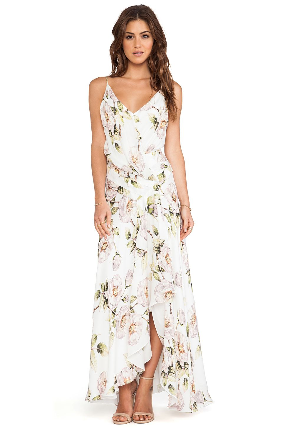Floral maxi dress wedding  Haute Hippie Falling Petal Gown in Swan Multi  REVOLVE  Clothes