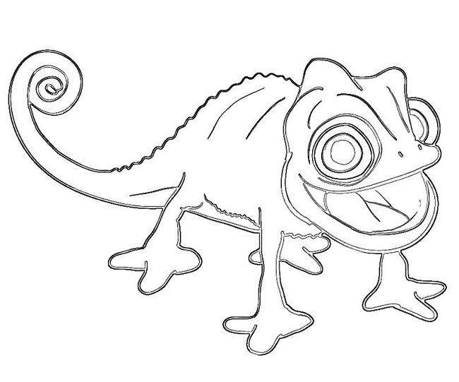 Tangled chameleon coloring pages