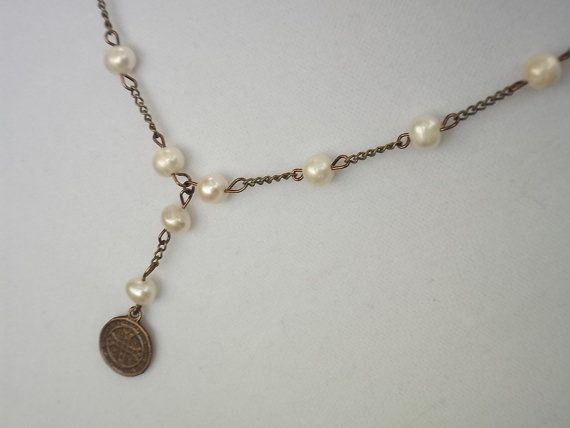 Saint Benedict Benedictine Medal Pearl by DePrimaDivineDesigns, $25.00