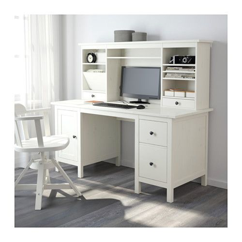 Eckschreibtisch ikea hemnes  HEMNES Desk with add-on unit, white stain | HEMNES, White stain ...