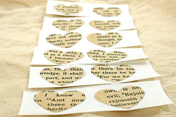 Heart Sticker Set of 50 Vintage Book Page by Theturningofapage