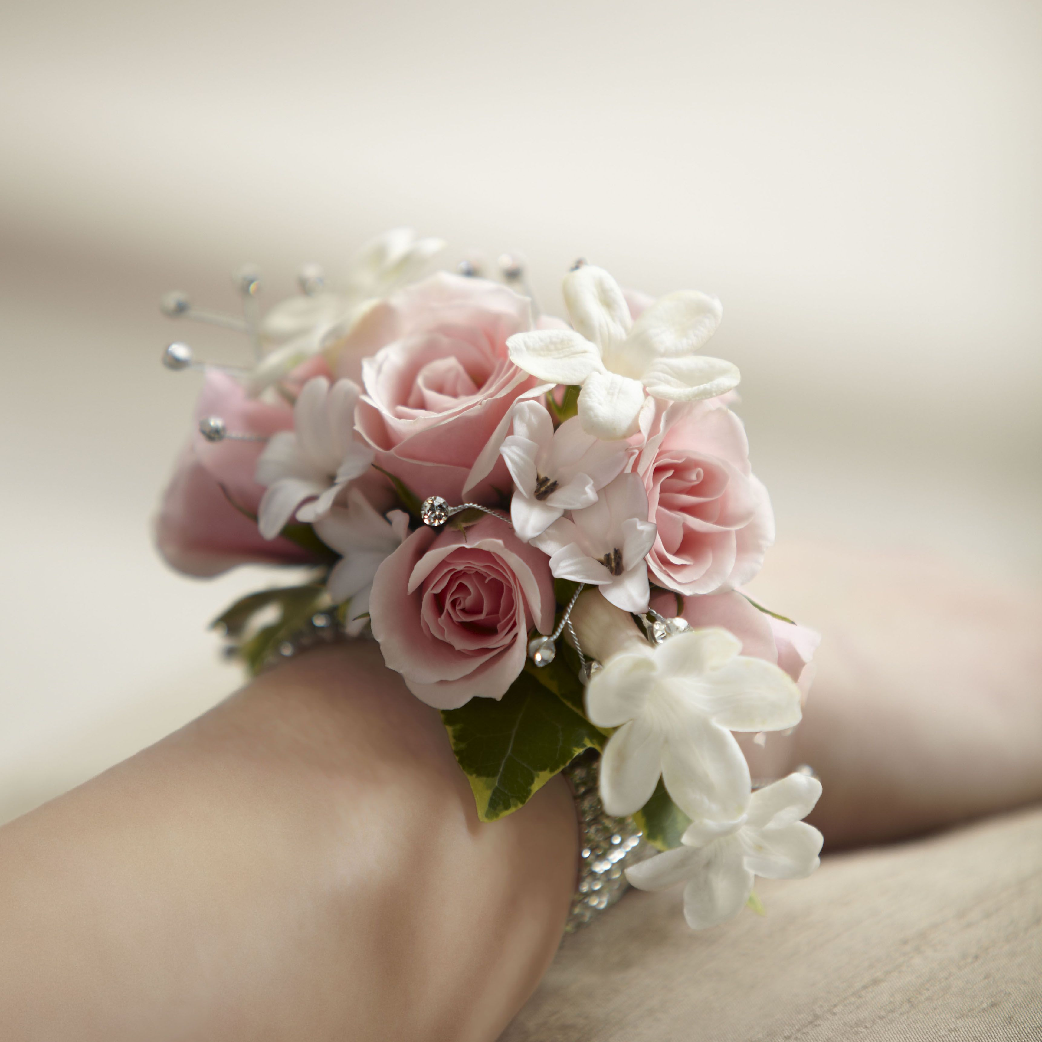 Leslie s corsage instead of bouquet but in our colors flowers Love that