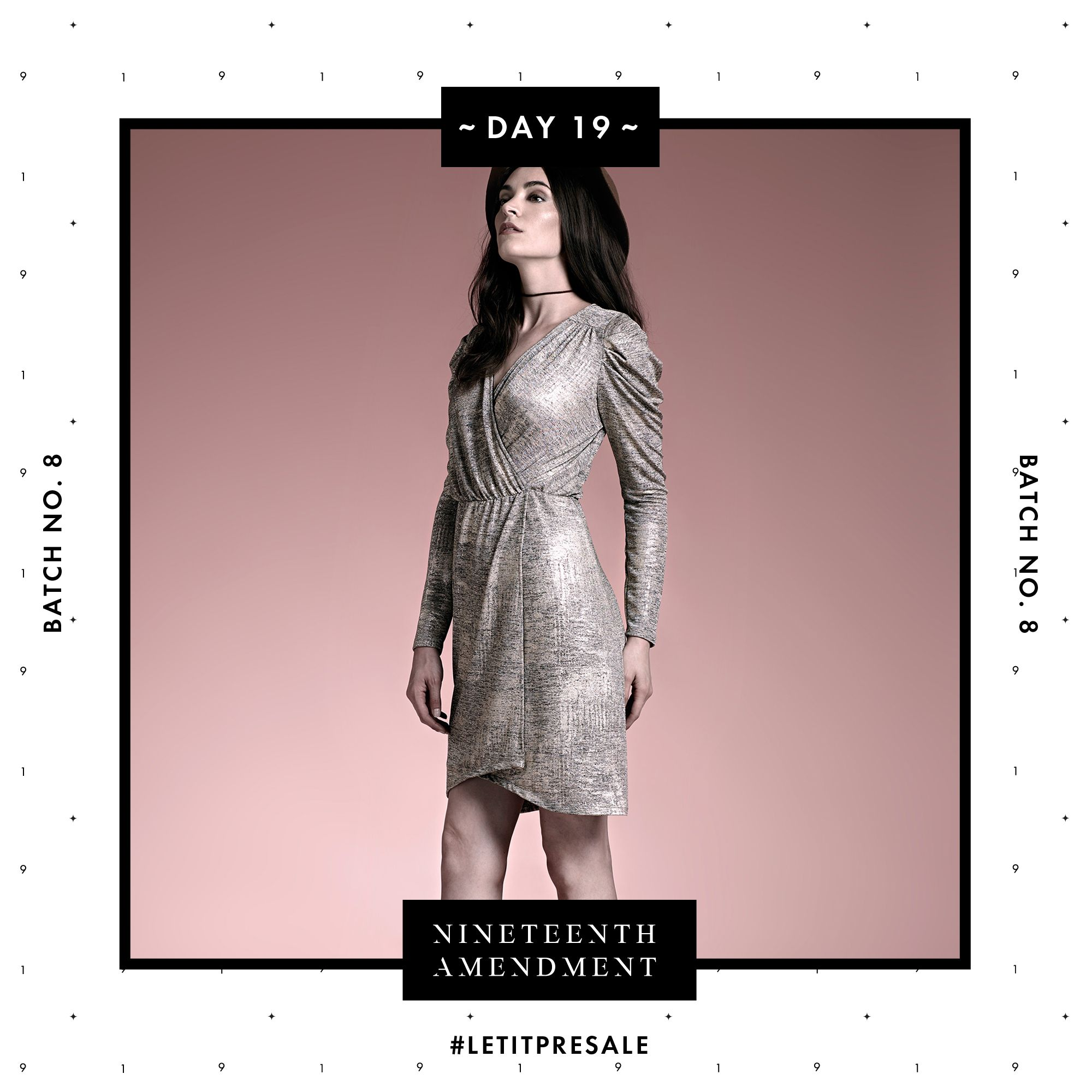 Day 19: Today's the last day in our 19 days of presale, so why not go for Gold this holiday season in this BATCH NO. 8 dress