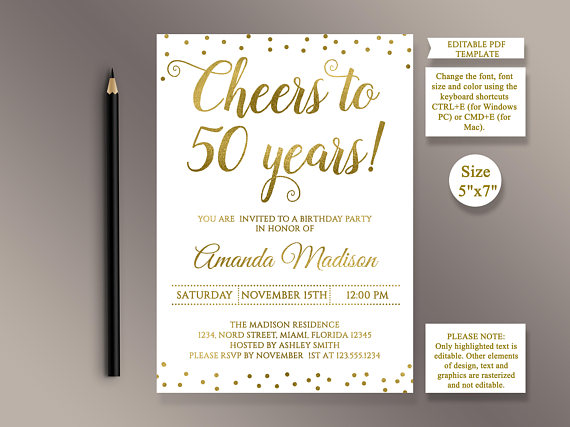 50th Anniversary Party Invitations