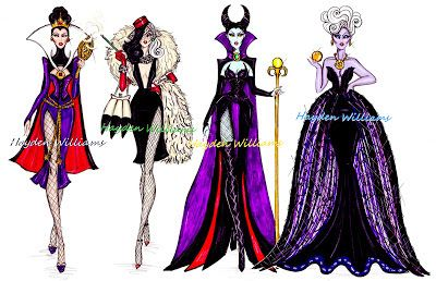 Hayden Williams Fashion Illustrations: The Disney Diva Villainess collection by Hayden Williams