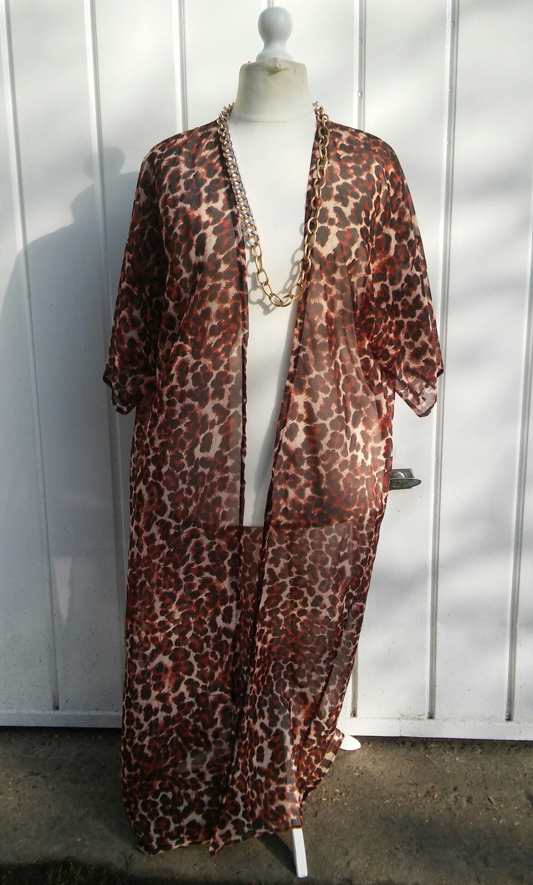 eb5f85953ce8 Plus size Long kimono,Sun cover up, Light jacket, duster brown leopard,  black, pink,white print short sleeves, see through,sheer,sizes 10-28 by ...