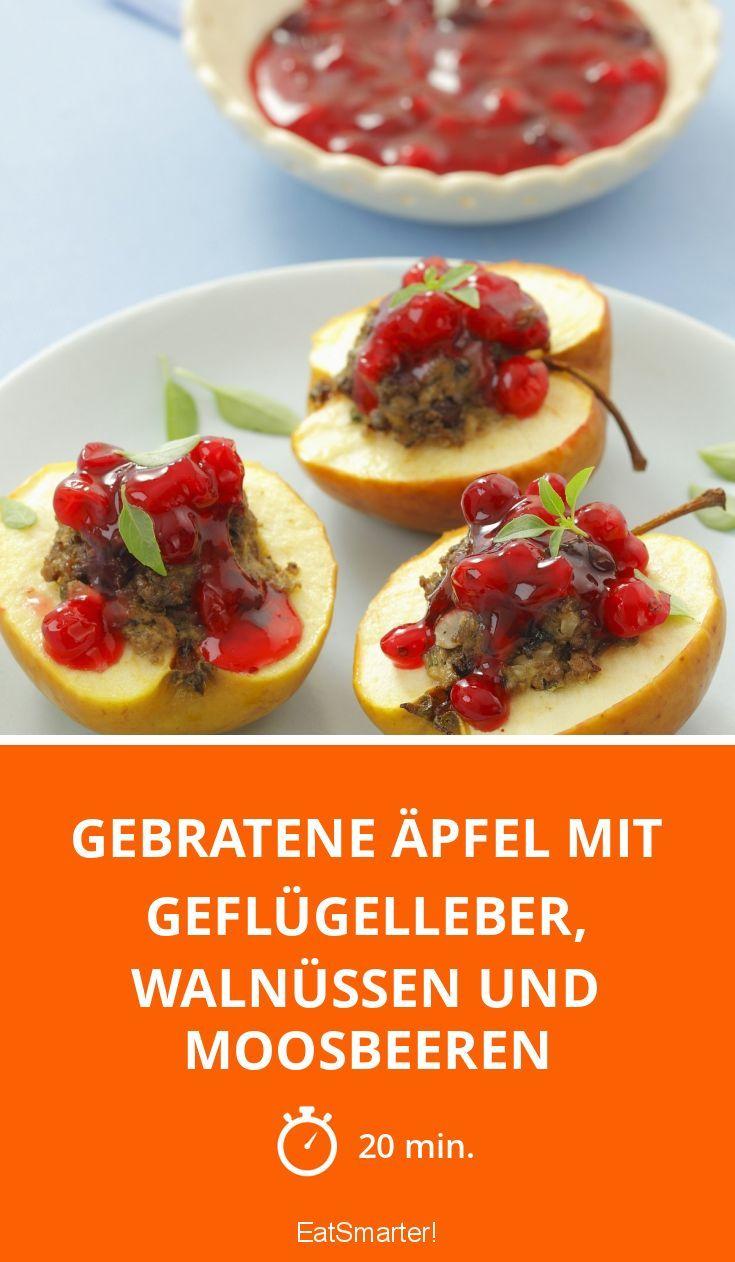 Gebratene Äpfel mit Geflügelleber, Walnüssen und M