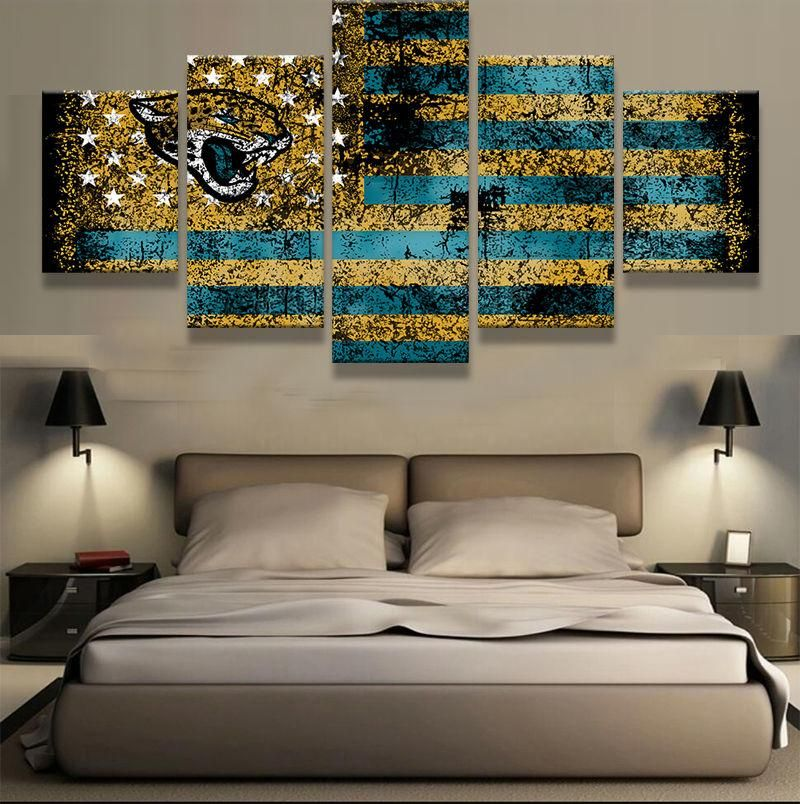 Jacksonville Jaguars American Flag Sport Canvas Wall Art