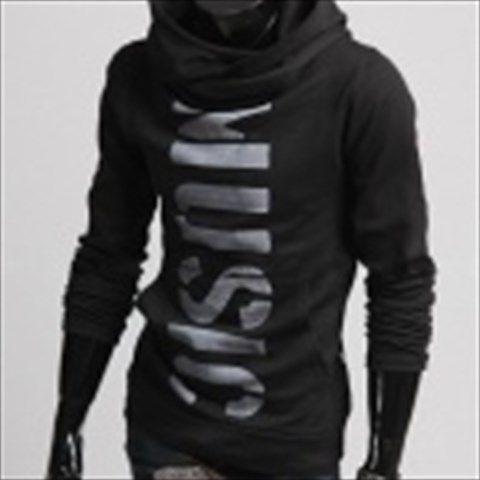 MUGE W106 Letters Printing Slim Fit Men's Fleece Jacket - Black (Size-XXL) $38.74