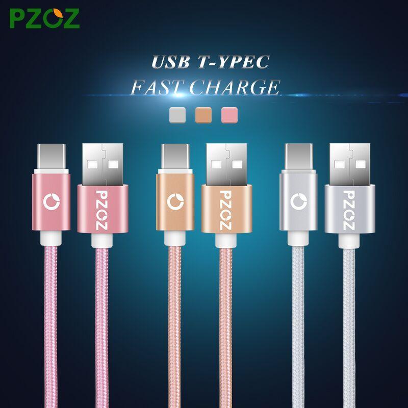 Pzoz usb c 형 케이블 원래 유형 c usb c 빠른 충전기 xiaomi mi5 mi4c mi 4 s oneplus 2 3 nexus 5x6 p meizu pro 5 zuk z1