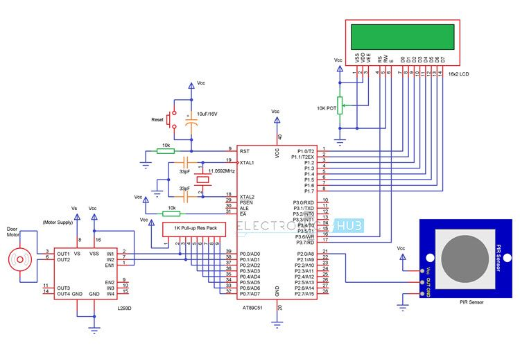Automatic door opening system using 8051 doors circuit