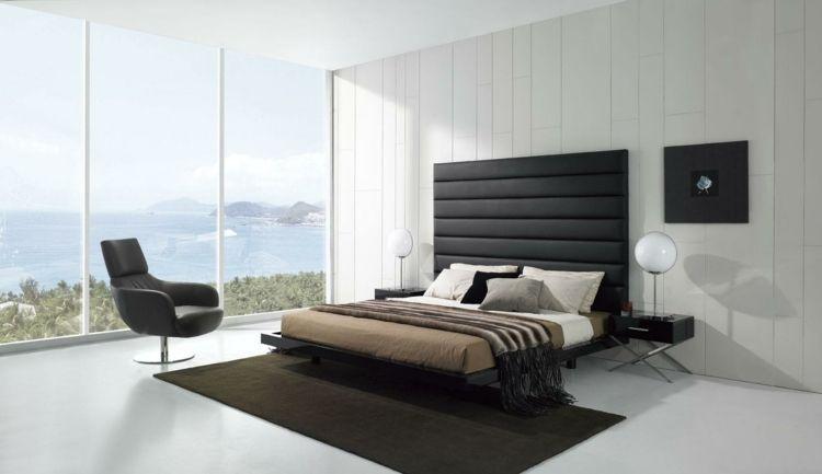 weißes schlafzimmer mit modernem möbeln in schwarz | schlafzimmer ... - Modernes Schlafzimmer Schwarz