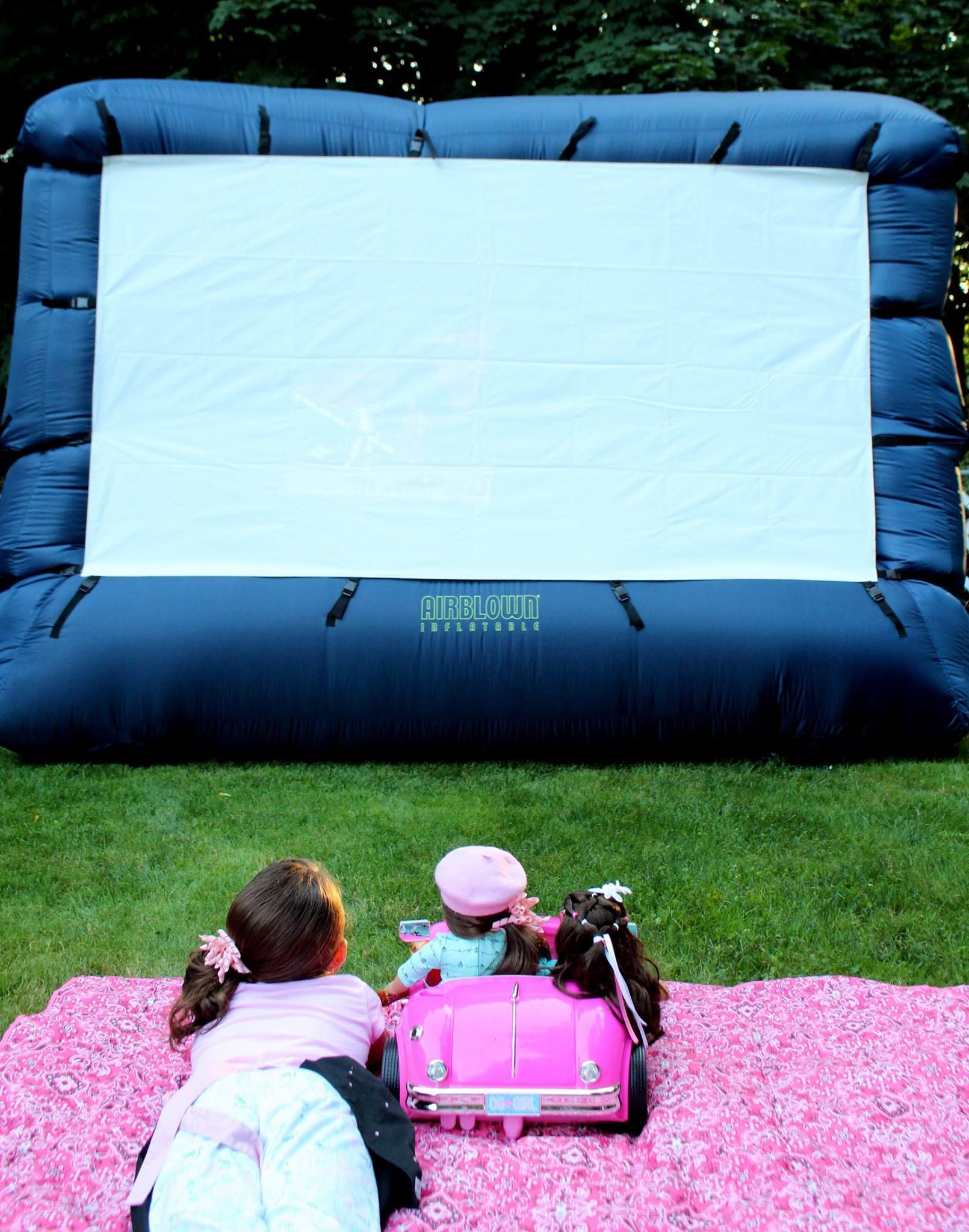 Backyard drive in movie night American Girl style inflatable