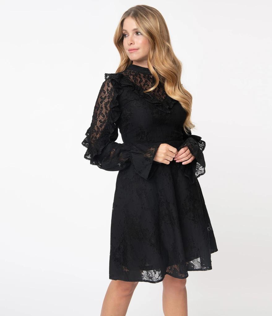 Black Lace Dark Dreams Fit Flare Dress Unique Vintage Black Lace Top Dress Cocktail Dress Lace Black Lace Cocktail Dress [ 1023 x 879 Pixel ]