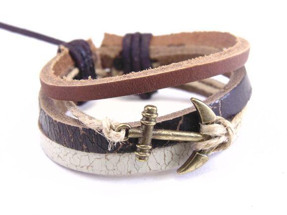 Pulseira Bracelete De Couro com Âncora
