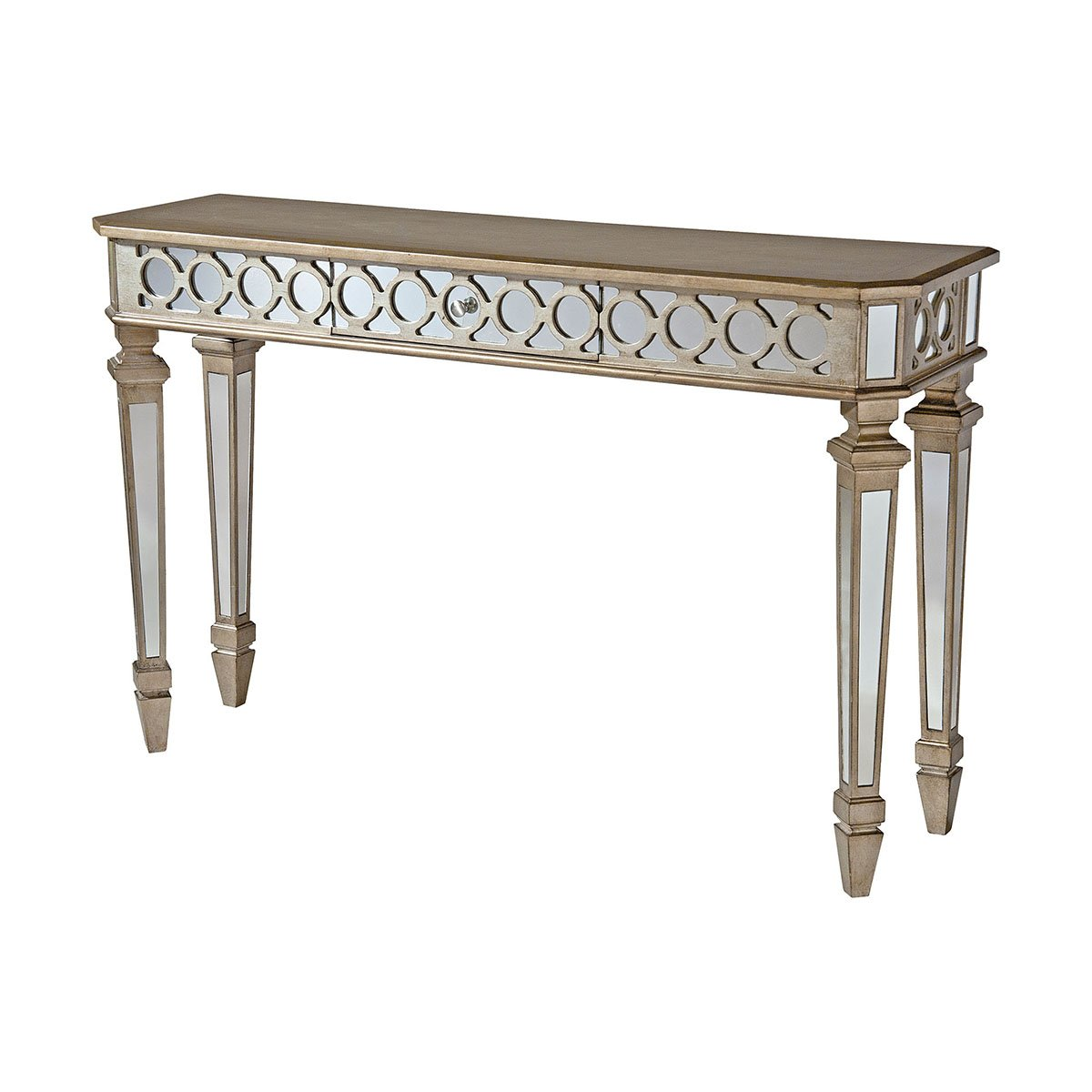 One Drawer Mirrored Console Table Hand Painted Metallic Gold And Silver Finish Mirrored Drawer And Side P In 2020 Mirrored Console Table Mirror Console Console Table