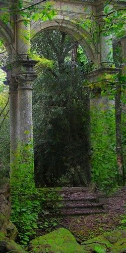 Colonnade in the woods.
