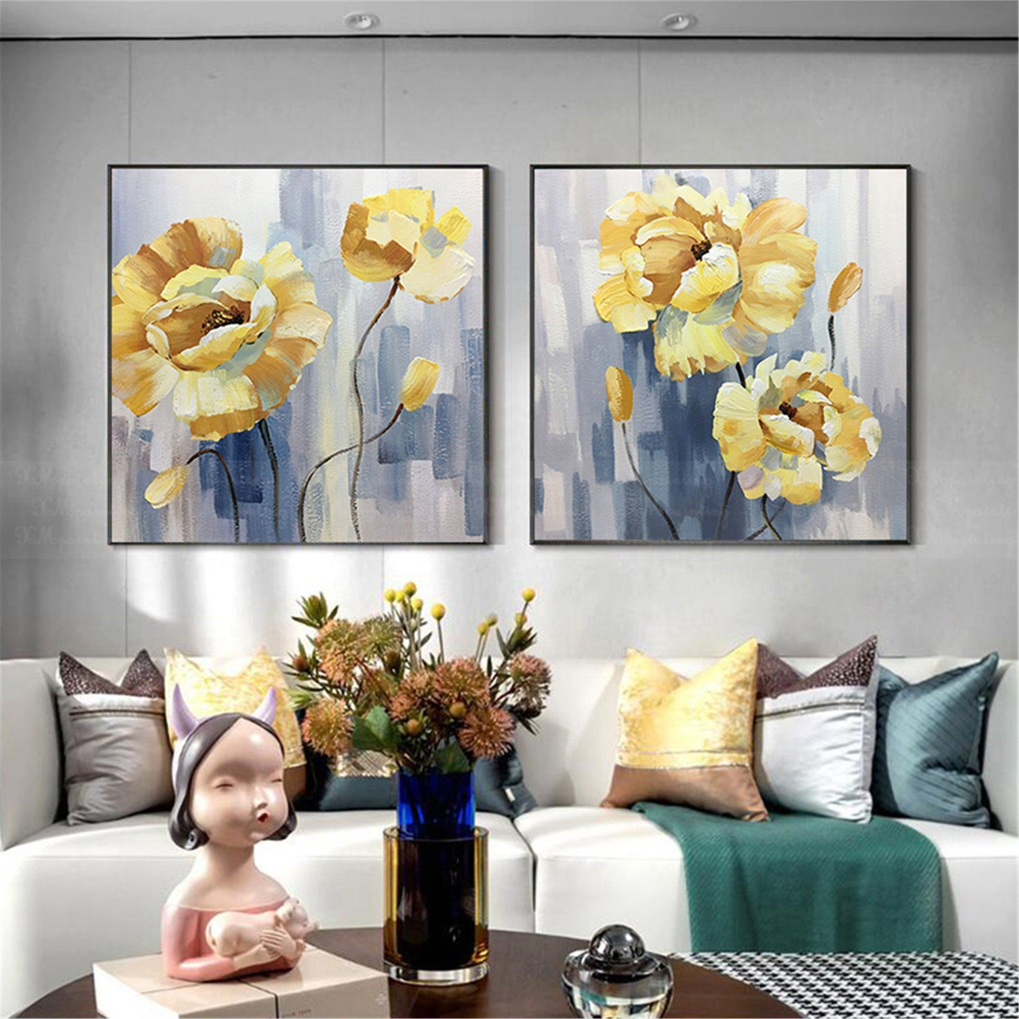 2 Pieces Gold Acrylic Flower Abstract Painting Canvas Wall Art Etsy Abstract Canvas Painting Etsy Wall Art Abstract Art Decor