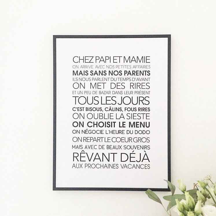 Affiche Exclusive Chez Papi Et Mamie Citations Françaises