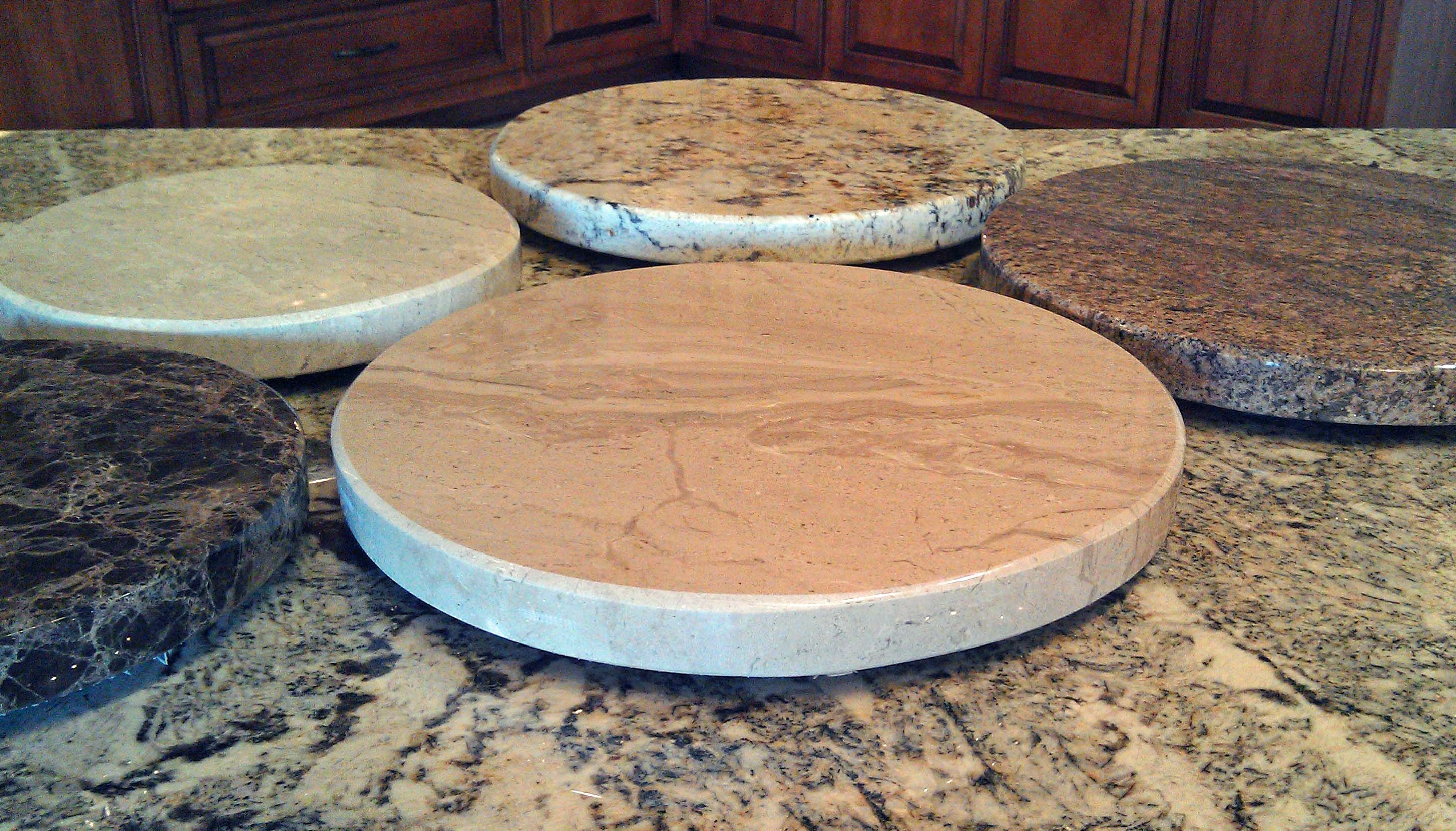we have begun making lazy susans or turntables as some call them we can make them out of any granite marble or quartz