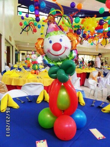 Clown balloon table centerpiece party decor by j