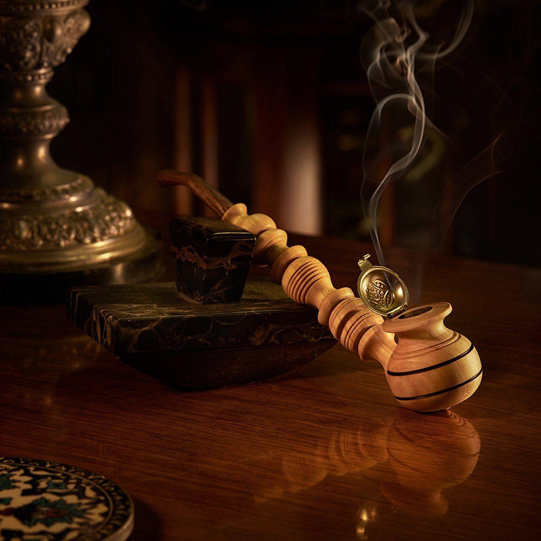 Amazon com: Impressive Wooden Tobacco Smoking Pipe With Cap