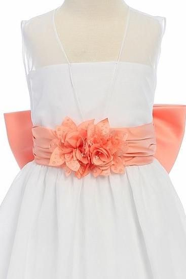 e27ed44d53bd Children s wear dress white flower girl dress bow sash pageant ...