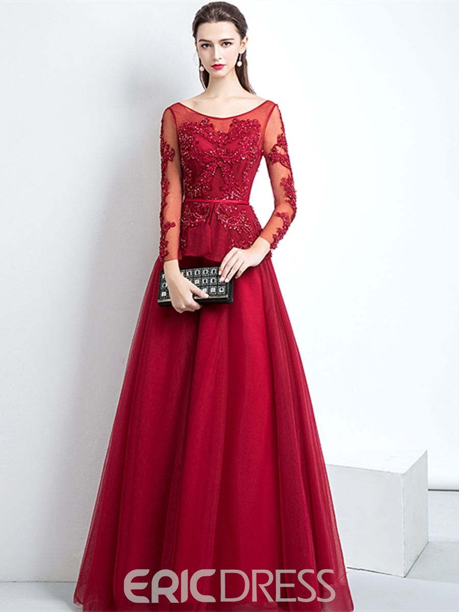 A line applique long sleeve prom dress in ebs wedding