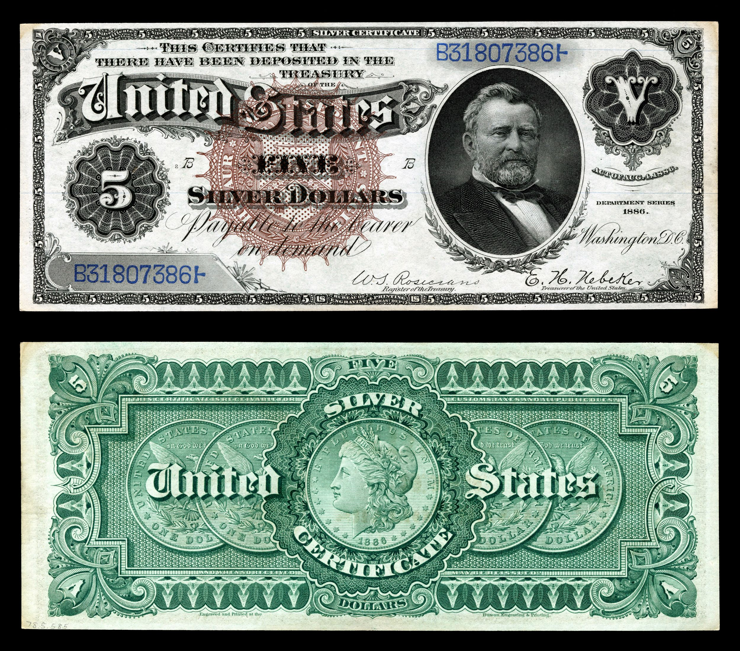 Us five dollar bill images of list of united states presidents series 1886 five dollar silver certificate xflitez Choice Image