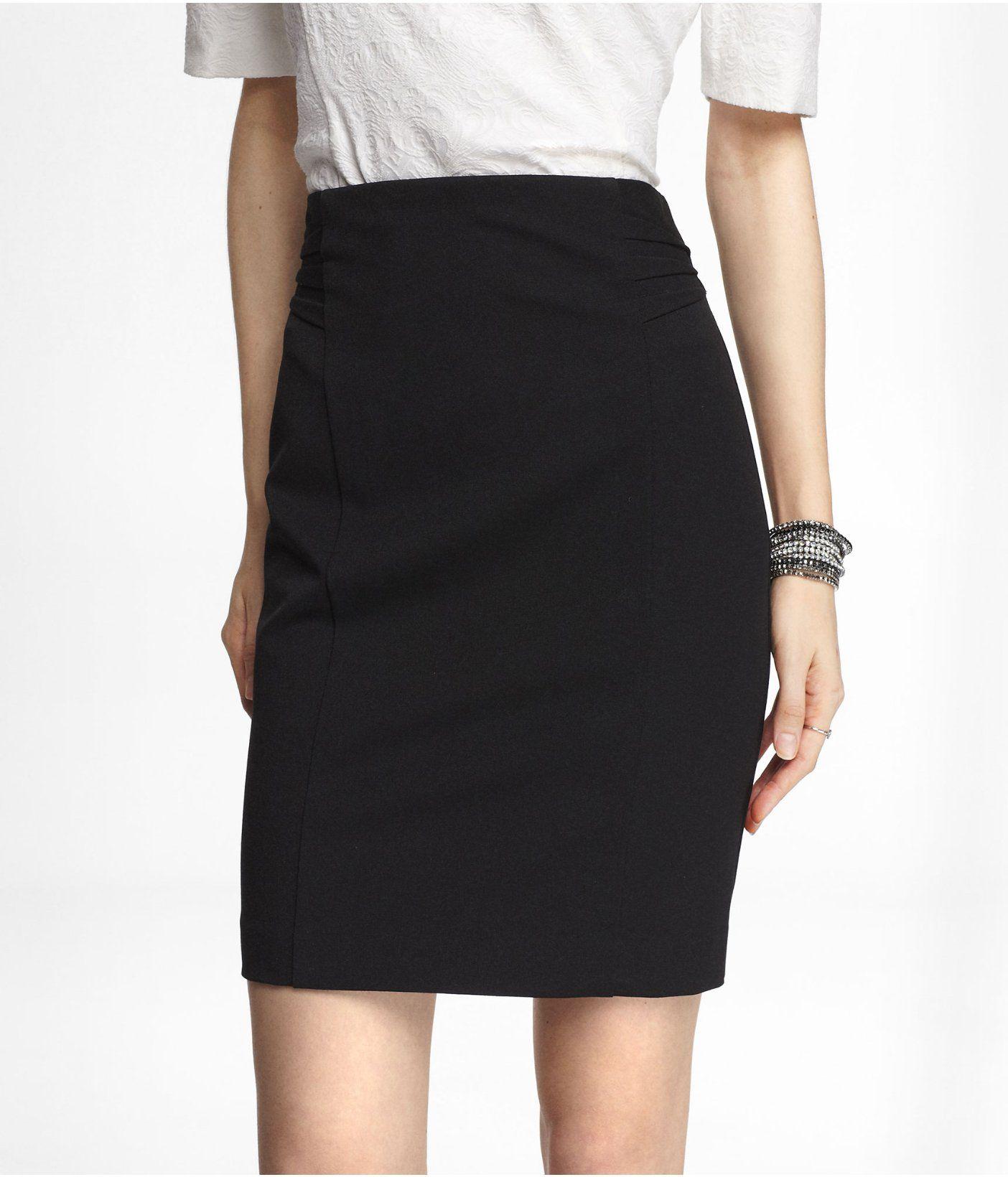 592db1ee5bdf High Waist Pintucked Pencil Skirt
